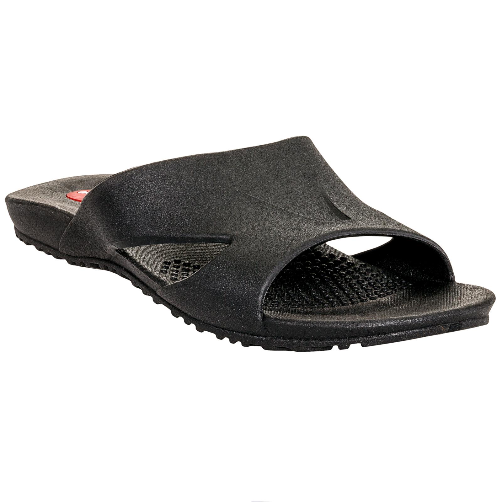 Mens Black Glide Ergonomic Waterproof Massaging Sandal Shoes (12-13