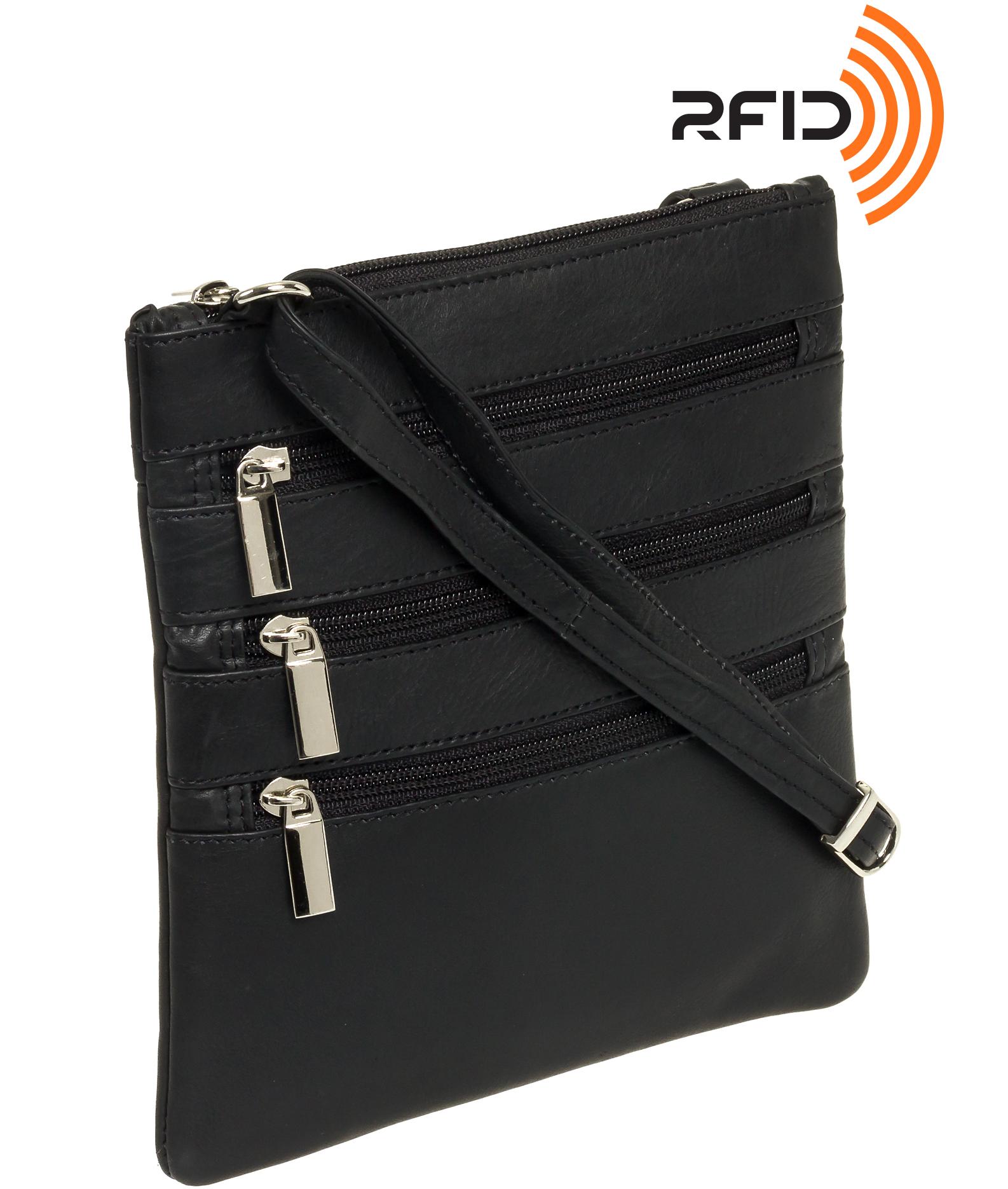 1556d976f Silver Lilly Womens RFID Protection Genuine Leather 3-Zipper Crossbody Bag  Purse   eBay
