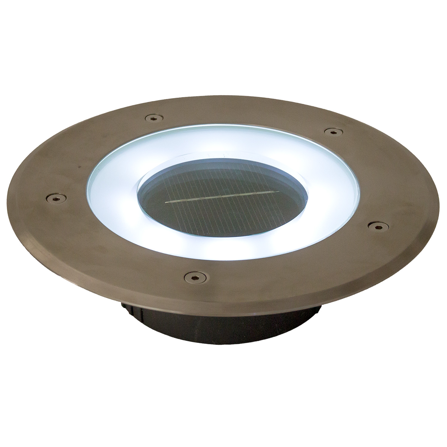 Solar power round recessed deck dock pathway garden led light ebay -  Solar Recessed 8 Inch Deck Dock Patio Pathway Light W 8 White Picture 1 Of 5 Picture 2 Of 5