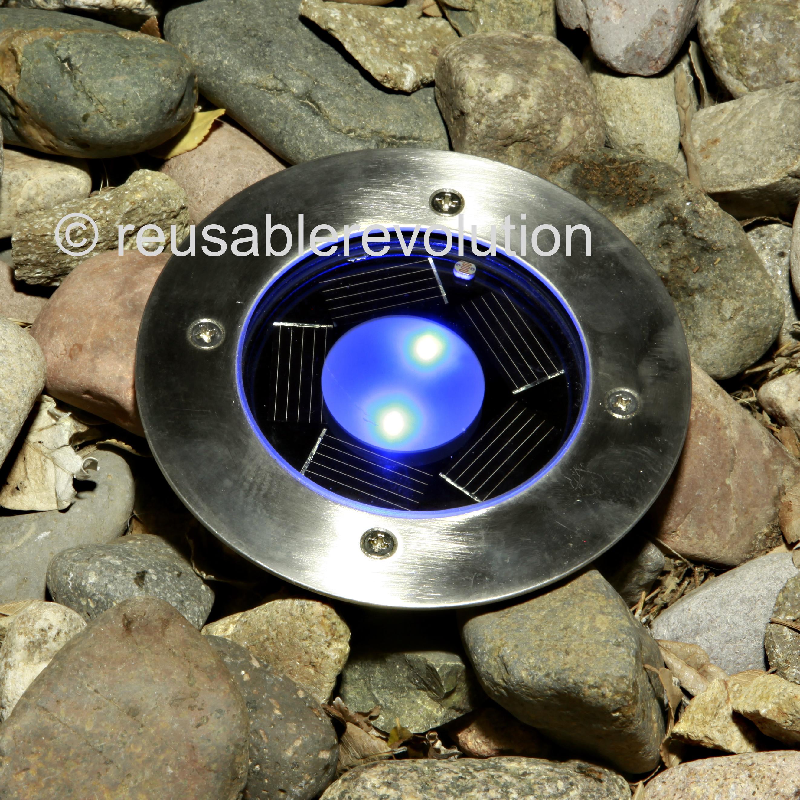 Solar power round recessed deck dock pathway garden led light ebay - 8 Pack White Solar Power Round Recessed Deck Dock Pathway Garden Led Light