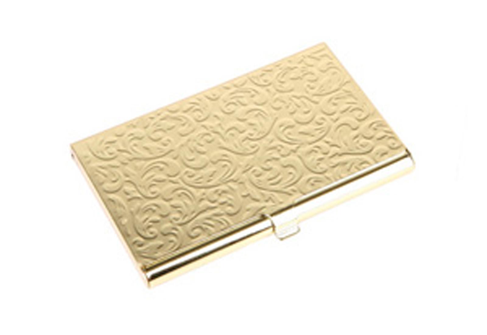 SilverHooks Damask Embossed Metal Business Card Holder ID Wallet ...