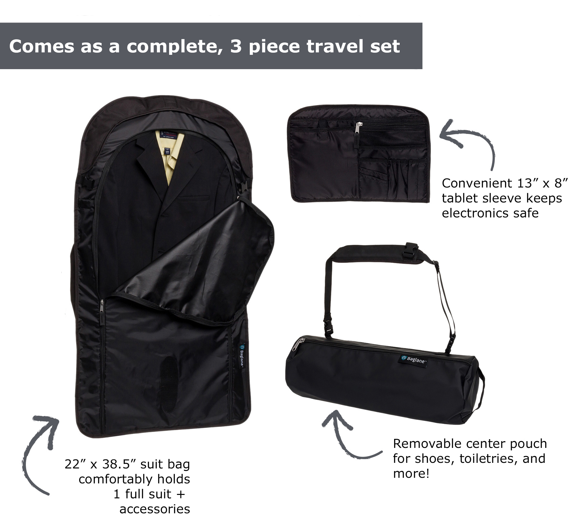 Garment Suit Bag by Baglane - Travel Carry on | eBay