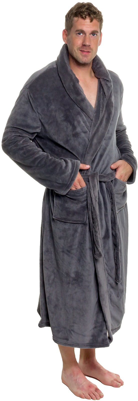 91c303e03c ROSS MICHAELS Mens Plush Shawl Kimono Hooded Bath Robe