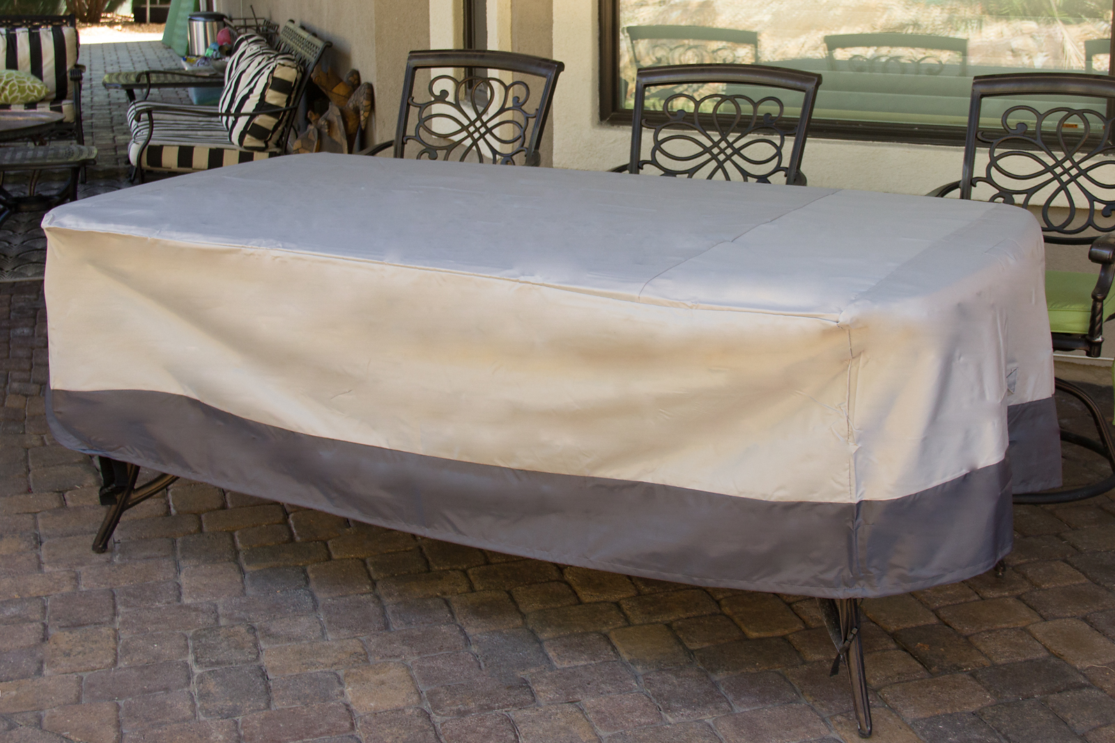 Dining table weatherproof outdoor furniture patio cover ebay for Covered deck furniture