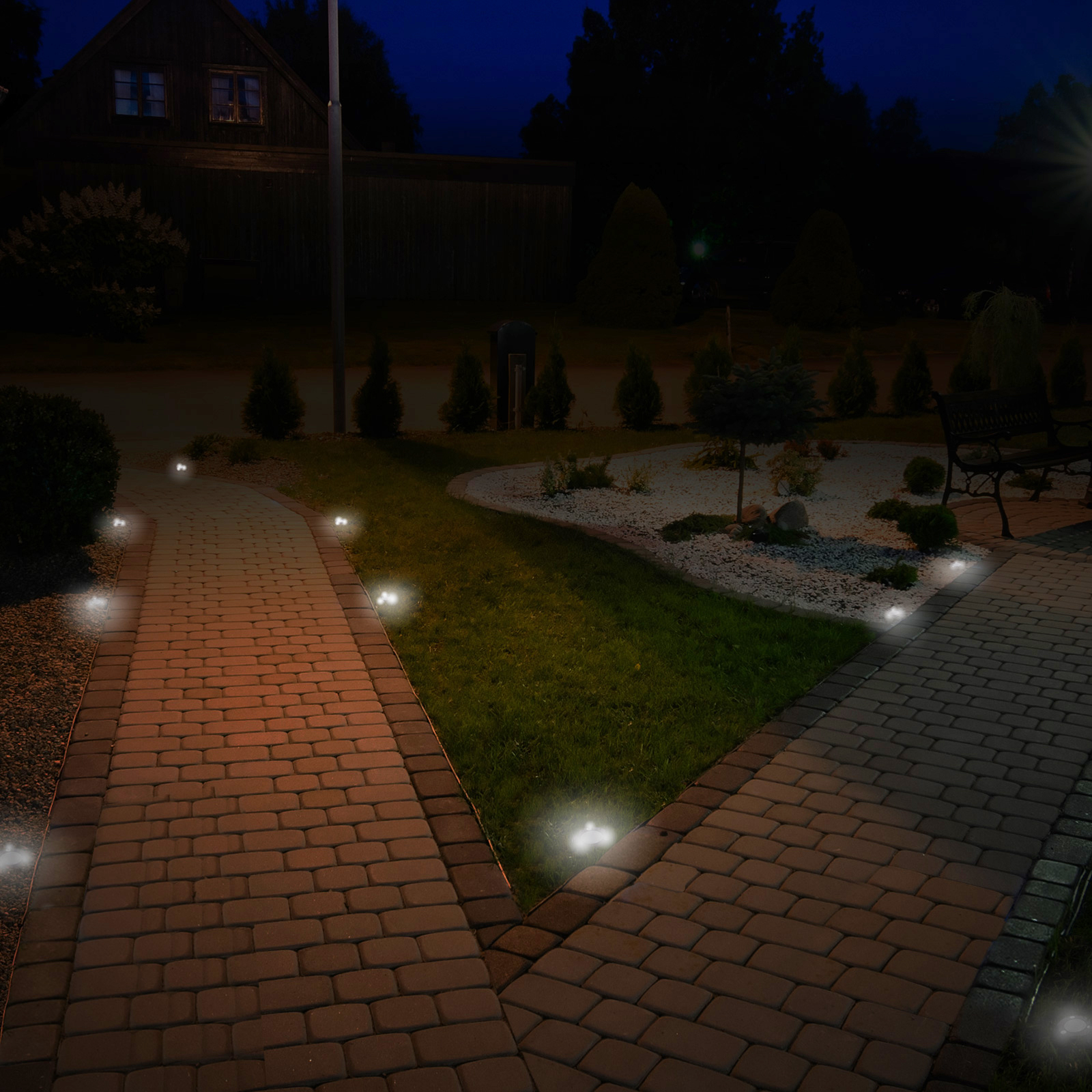 Outdoor Patio Ground Lights: GreenLighting Stainless Steel Solar Flat In-Ground