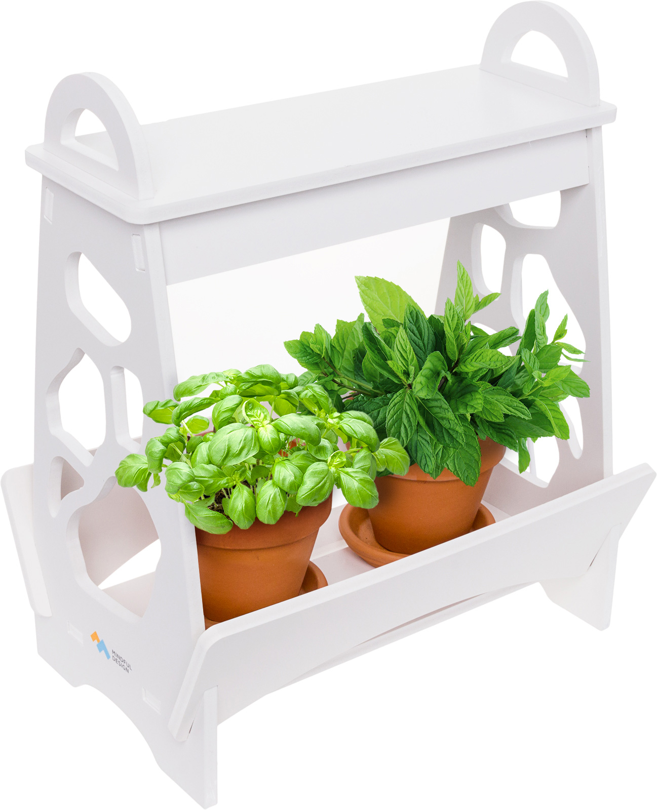 Herb Kits For Indoors: Mindful Design White LED Indoor At Home Mini Planter Herb