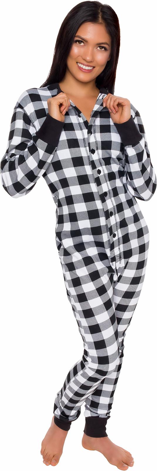 b0c55c9c8ec8 Details about Silver Lilly Unisex Adult Plaid One Piece Pajamas w  Drop  Seat (Black White