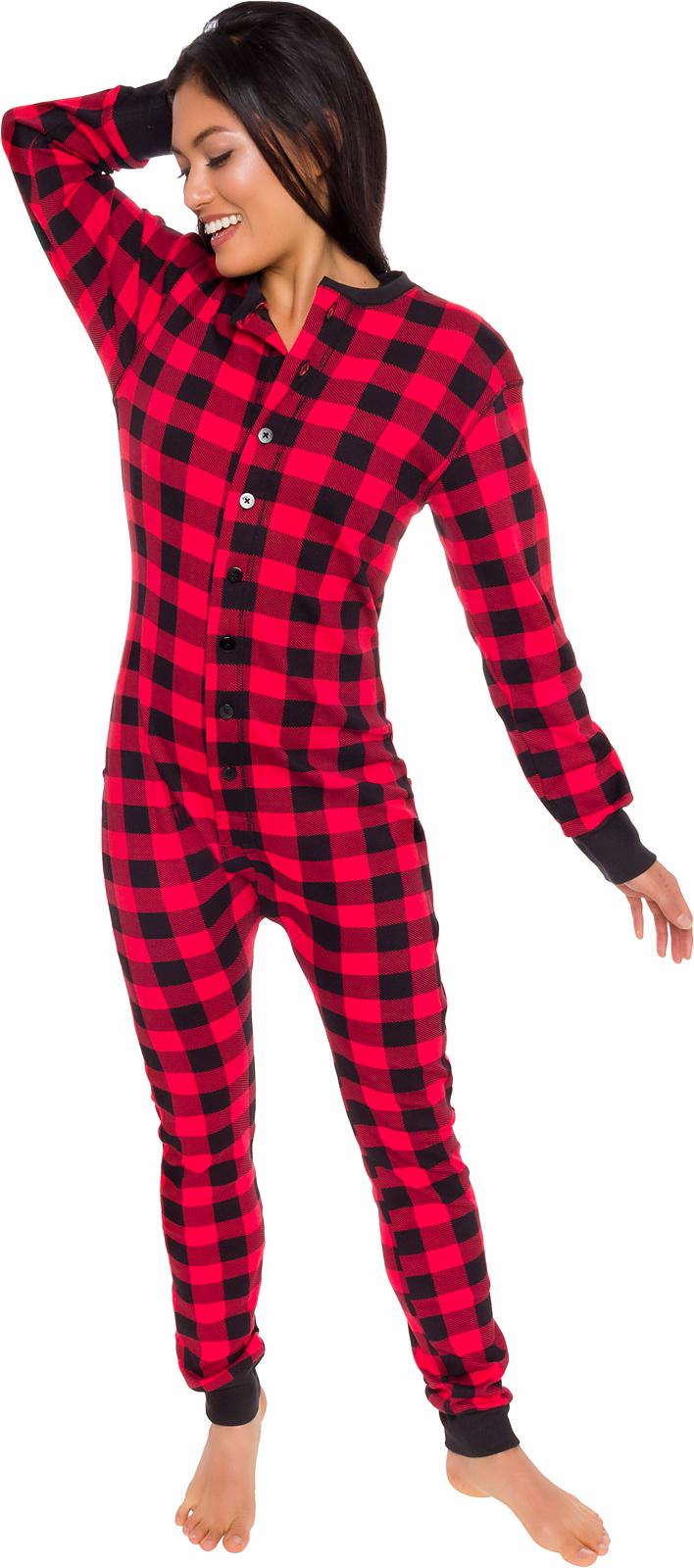 Silver Lilly Unisex Adult Plaid One Piece Pajamas w/ Drop Seat (Black/White, L)   eBay