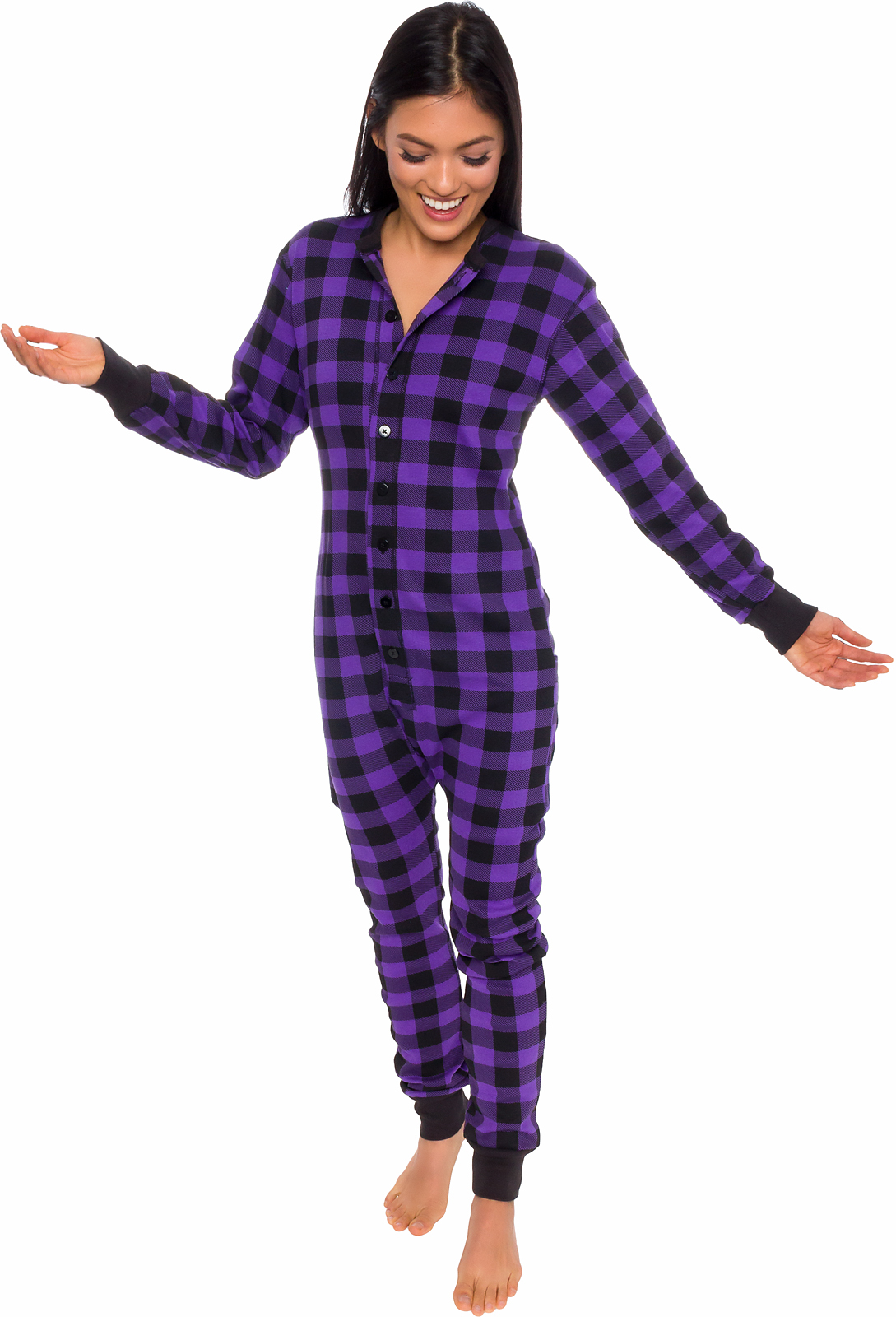 9d29d8947900 Silver Lilly Unisex Adult Plaid One Piece Pajamas w  Drop Seat ...