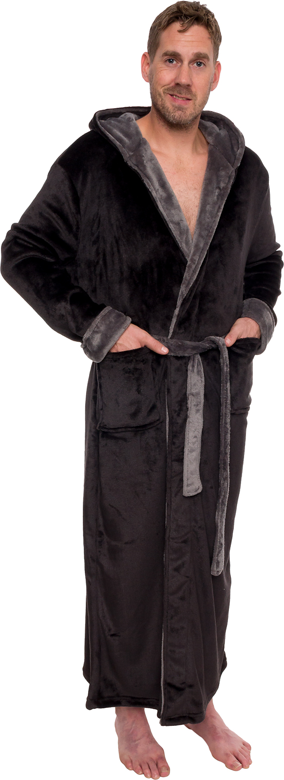ross michaels mens hooded full length big and tall long bath robe ebay. Black Bedroom Furniture Sets. Home Design Ideas