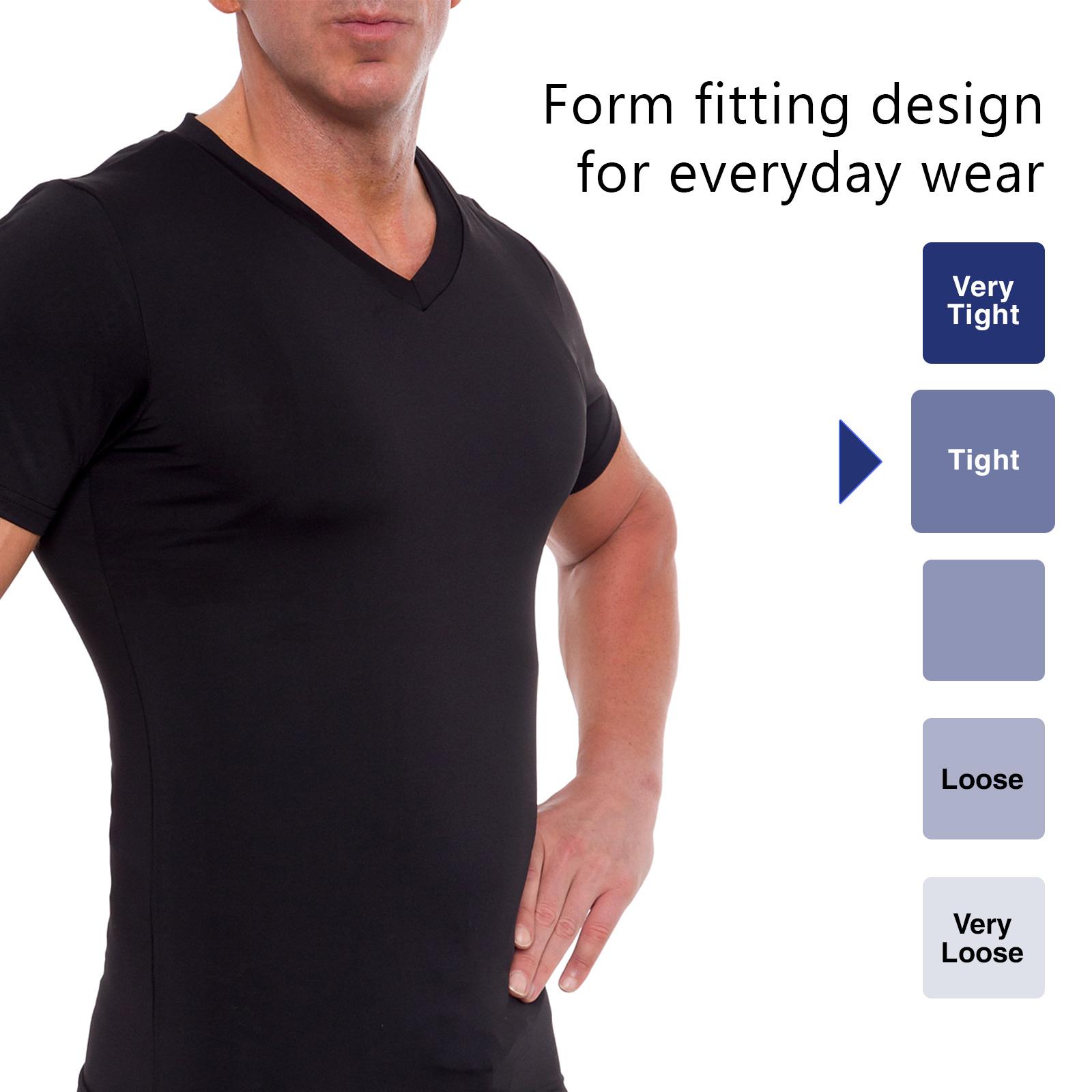 73c3cbe81bb74 LISH Men s Black Slimming Compression Body Shaper Gynecomastia V-Neck Shirt  (Medium)