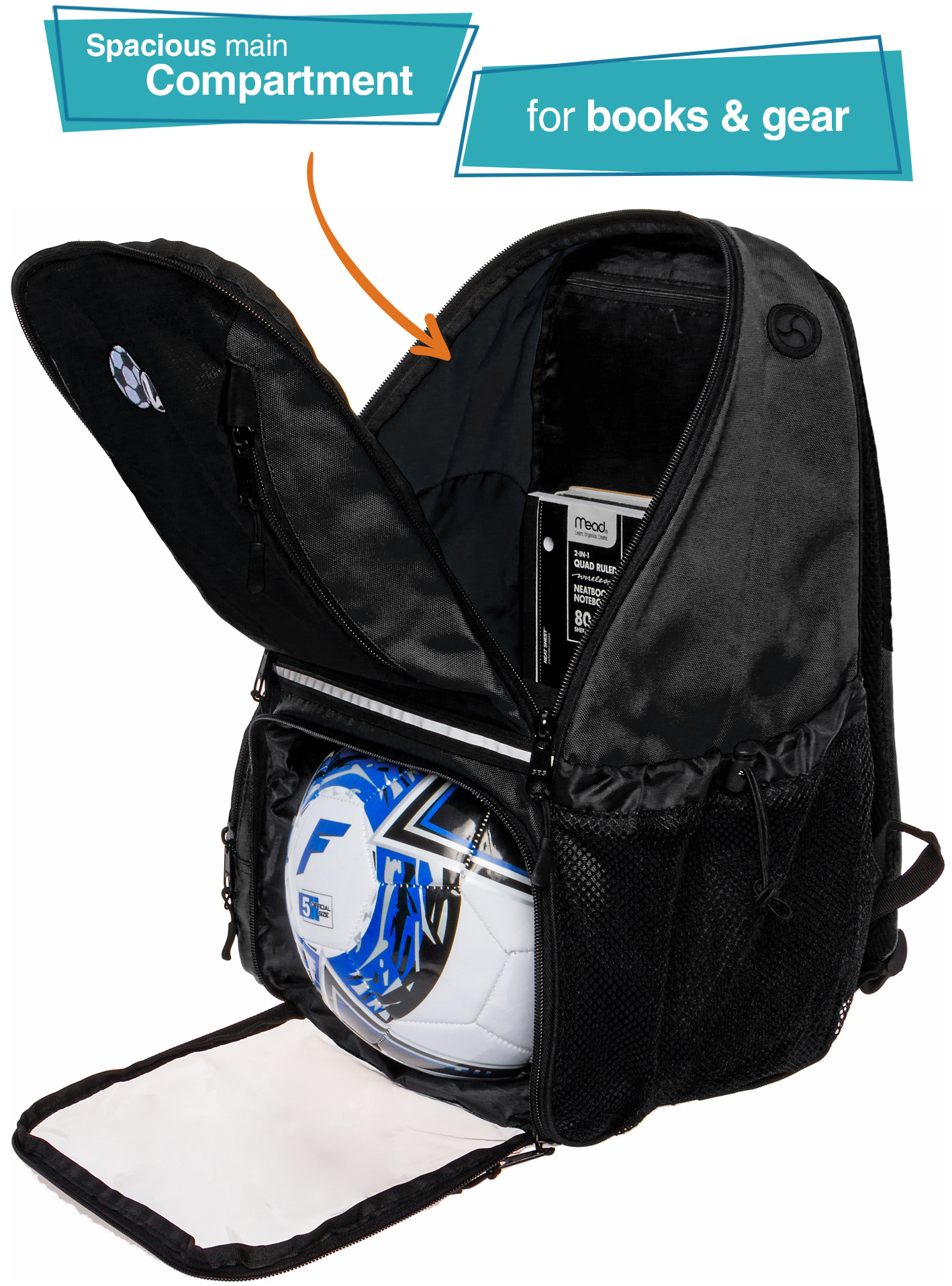 be9d4797df80 LISH Girl s Large School Sports Bag Soccer Backpack w  Ball Compartments ( Black)