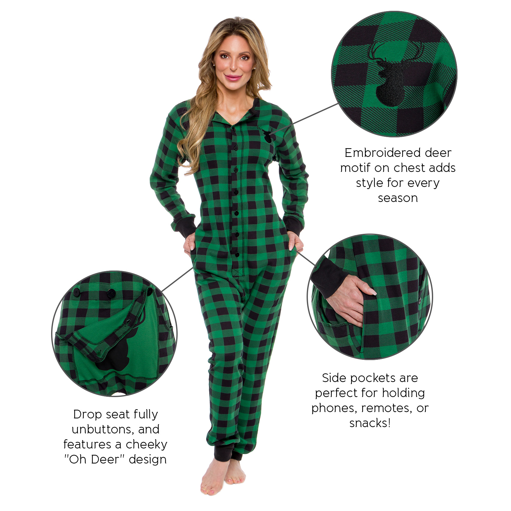 efe46a838392 Silver Lilly Women s Oh Deer One Piece Union Suit Pjs w  Drop Seat ...