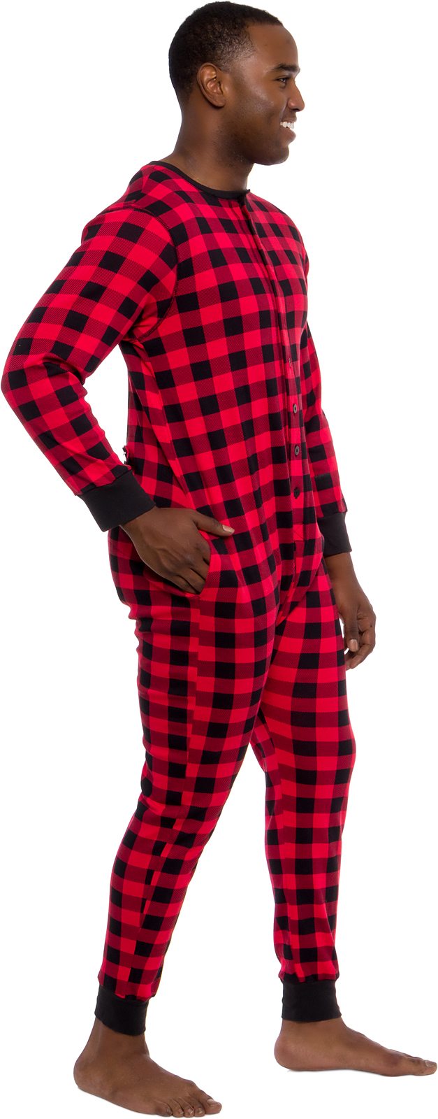 Ross Michaels Mens Buffalo Plaid One Piece Union Suit